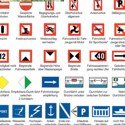 Wichtige Binnenschifffahrtszeichen