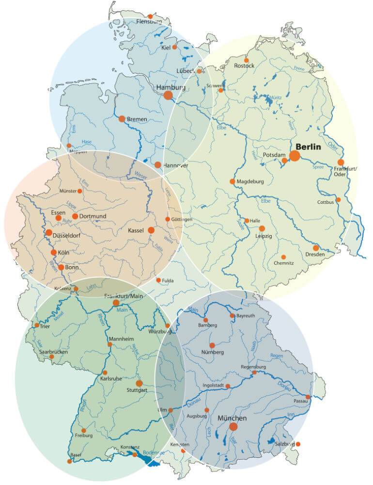Regionen zum Paddeln